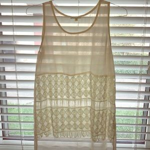 High-low, woven tank